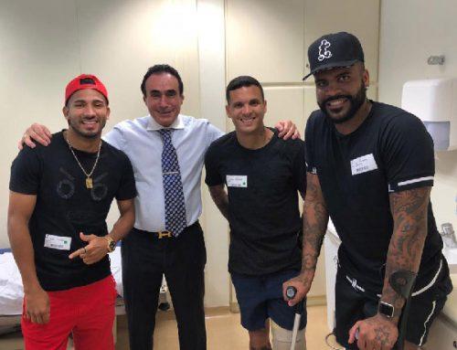Da esquerda para à direita: Rojas, do São Paulo, Prof. Dr. Rene Abdalla, Ramon e Breno, do Vasco da Gama