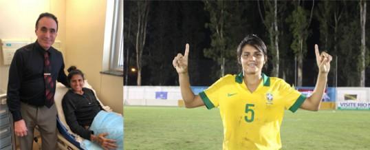 Gabi Morais, da seleção brasileira de futebol feminino, passa por cirurgia no Instituto do Joelho HCo